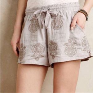 Anthro mermaid shorts linen malini embroidered S